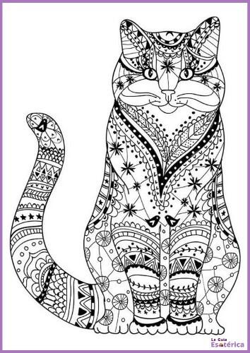 Mandala de gato para pintar
