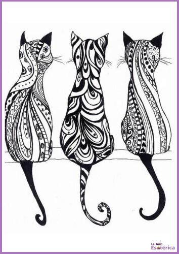 Mandala de gatos para colorear e imprimir