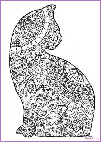 Mandala gato para colorear de perfil