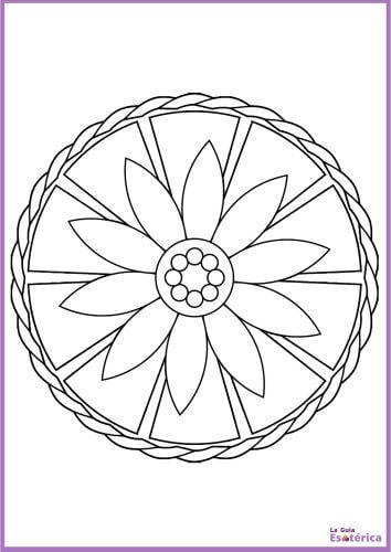 Colorear mandala sencillo flor de loto