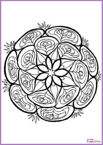 Mandala capullos de rosas para colorear