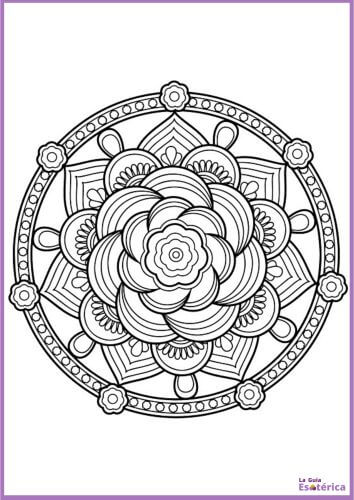 Mandala flor de rosa para colorear