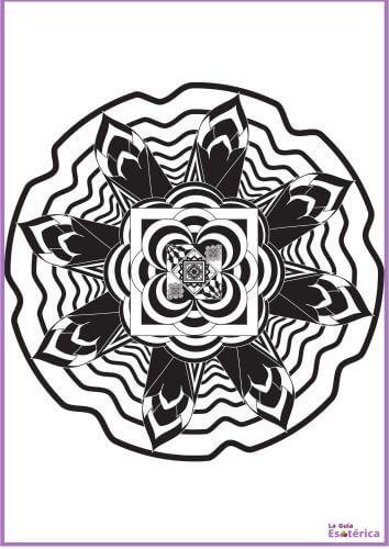 Mandala flores de loto para colorear