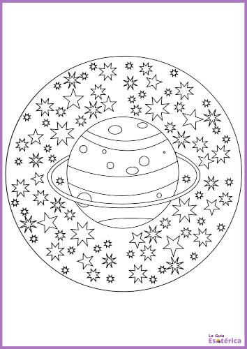 Mandala para niños de planeta y estrellas