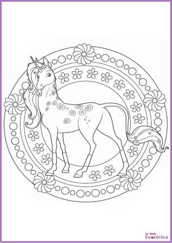 Mandala para niños unicornio